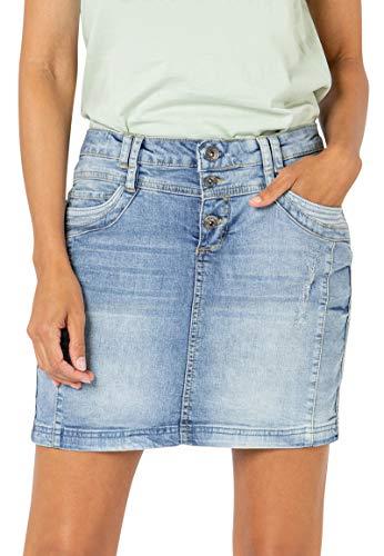 Sublevel Damen Jeans Mini-Rock mit Knöpfen im Used Look Light-Blue L