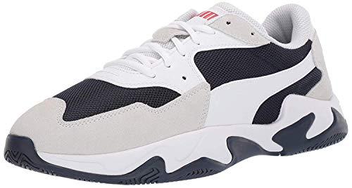 PUMA unisex adult Storm Sneaker, Puma White-peacoat-h, 11 US