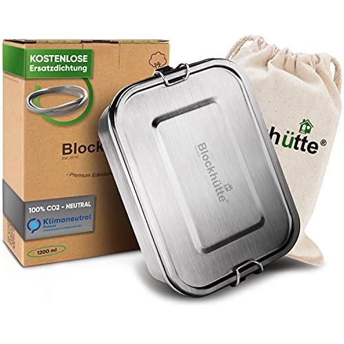 Blockhütte. Premium Edelstahl Brotdose I 1200ml I für Kinder inkl. Fächern & Ersatzdichtung. I Die Bento Box mit Trennwand ist auslaufsicher. I Brotzeitdose klein.