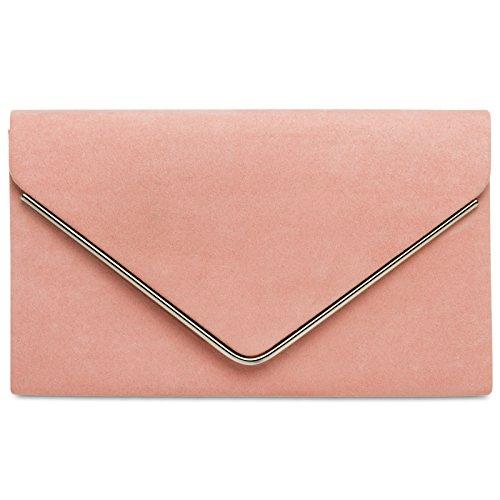 Caspar TA356 Damen elegante Textil Velours Envelope Clutch Tasche/Abendtasche mit langer Kette, Größe:One Size, Farbe:rosa