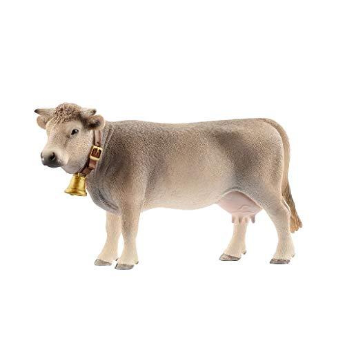 Schleich- Figura de Vaca Braunvieh con Cencerro, Color Marrón, 7,8 cm
