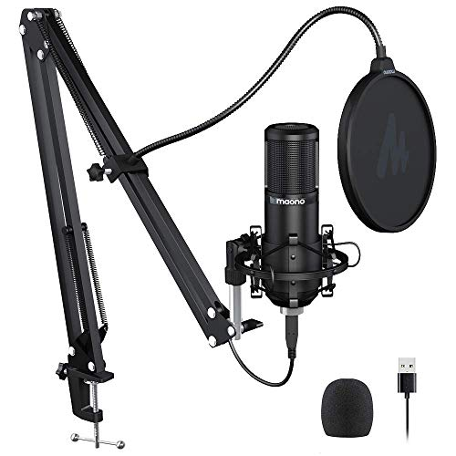 Podcast Microphone 192KHZ/24BIT MAONO AU-PM420 Metal USB Condenser Cardioid PC Mic with Professional Sound Chipset for Gaming, Streaming, YouTube, Voice Over, Studio/Home Recording