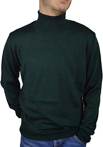 Iacobellis, Herren Rollkragenpullover, Pullover Männer Stehkragen aus Merinowolle extrafein, Made in Italy, XL Waldgrün