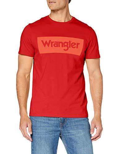 Wrangler SS Logo tee Camiseta, Rojo Marte, M para Hombre