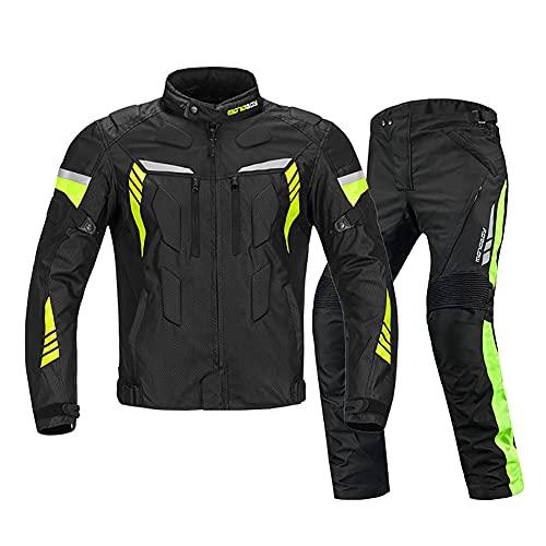 ZDSKSH Textilkombi Hochwertige Motorradkombi, 600D Polyestergewebe Atmungsaktiver Komfort, 2-teilig Anzug Für Männer, Frauen, Motorrad, Cross Country, Racing