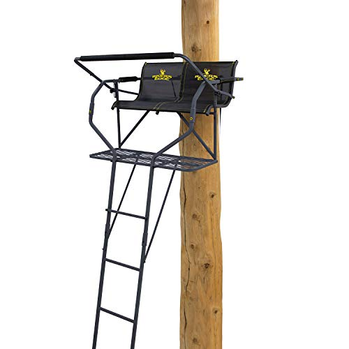 """Rivers Edge Treestands RE668 Relax 2-Man Ladder Tree Stand, 17' Height with TearTuff Mesh Seat, Flip-Back Padded Shooting Rail, Wide 43"""" Platform, Black"""