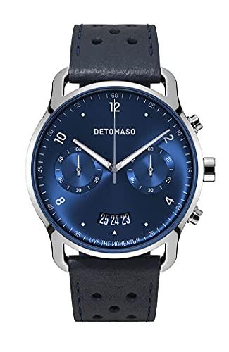 DETOMASO SORPASSO Chronograph Limited Edition Silver Blue Herren-Armbanduhr Analog Quarz Leder Armband Blau