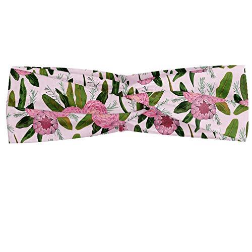 ABAKUHAUS Floral Bandeau, Fleurs camélias en fleurs avec des feuilles Conçu dans Motif Aquarelle, Serre-tête Féminin Élastique et Doux pour Sport et pour Usage Quotidien, Lilas Vert Olive et Rose