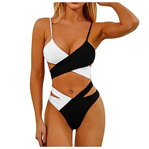 HWTOP Damen Zweiteilige Bikini Set High Waist Bademode Crossover Bikinioberteil mit Gepolstert Einfarbig Leopard Badeanzug Sport Bikinihose Strandbikini Swimwear Schwarz L