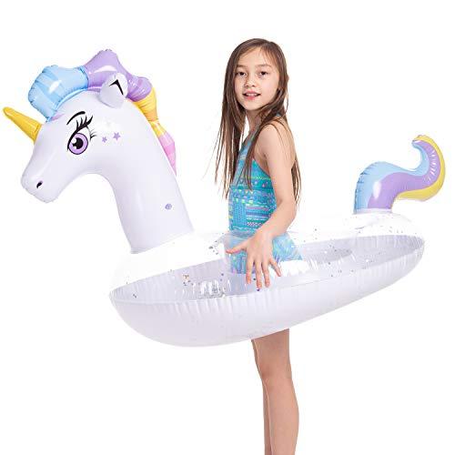 JOYIN Aufblasbare Einhorn Luftmatratze mit Glitzer, Pool Float, Schwimmen Floß, Strand Schwimmbad Spielzeug, Sommer-Party Dekoration für Kinder (130 x 85 x 82.5cm)