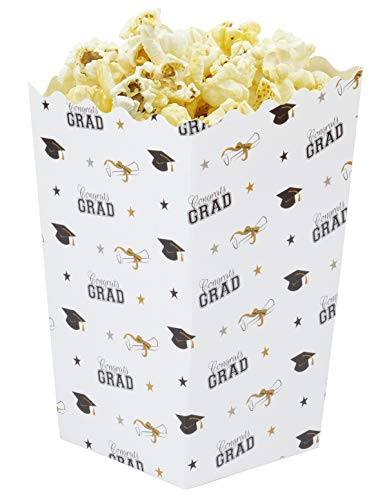 Graduation Popcorn Party Favor Boxes (3.3 x 5.5 Inches, 100-Pack)