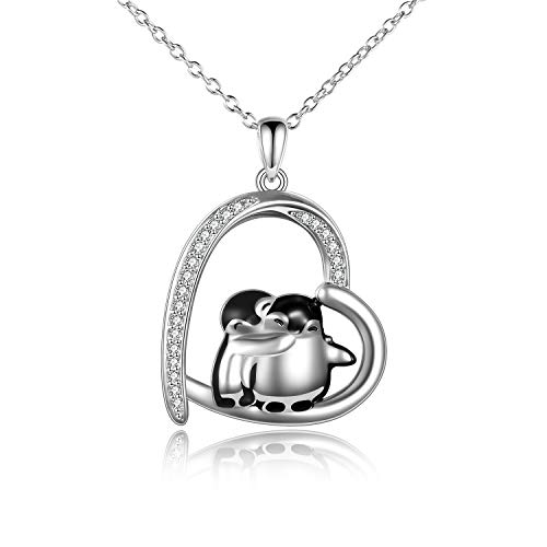 Penguin Necklaces Penguin Gifts 925 Sterling Silver Hugging Penguins Cute Animal Jewelry for Women Sister