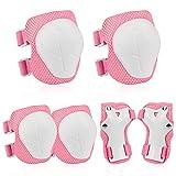 O-Kinee Protezione Kit per Bambini, 6 Pezzi Set di Ginocchiere per Bambini, Rosa Sicurezza Gear Pad...