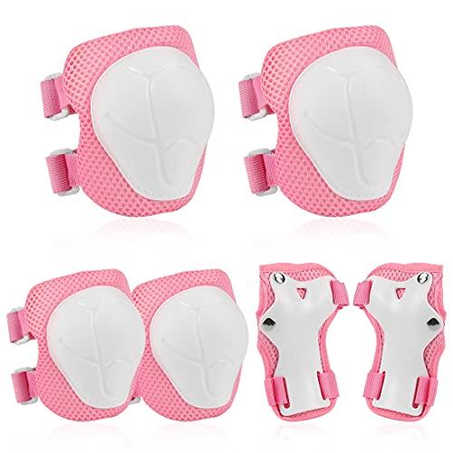 O-Kinee Protezione Kit per Bambini, 6 Pezzi Set di Ginocchiere per Bambini, Rosa Sicurezza Gear Pad Gomitiera Polsiera Bambini, Protezioni Inlinea per Bambini per Pattini, Hoverboard, Scooter