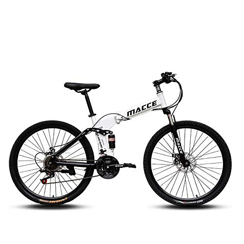 Off-Road Mountain Bike 24/26 Inch Mountain Bike, 21/24/27 Speed Folding Bicycle Double Disc Brake Front Fork Rear Fork Anti-Skid Men and Women Bicycle,White,26in/24speed