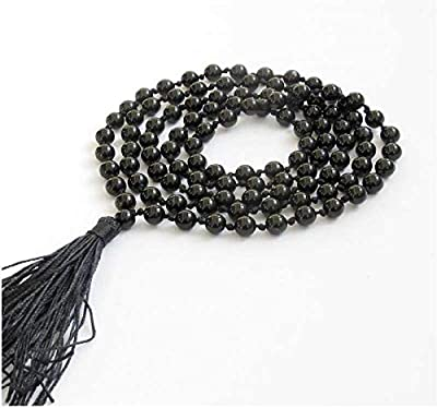 JP PRODUCTS 100% Original Black Agate Hakik Mala 108 +1 Beads/Mankas - for Kali & Maha Bhairav Japa Mantras Crystal Necklace (1 Quantity)