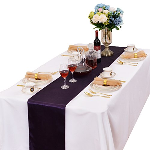 LOVWY 12 x 108 Inches Pack Of 20 PCS Satin Table Runner For Wedding Party Engagement Event Birthday Graduation Banquet Decoration (Colors Optional) (Eggplant)
