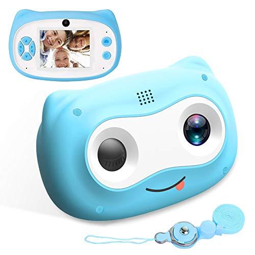 Kinderkamera, 24MP Fotoapparat Kinder Digitalkamera für Kinder Zoom Kamera Wiederaufladbare Doppellins FHD Video Aufnahme Kamera Geschenk, für 3-12 jährige Mädchen Jungen, mit 16GB TF-Karte