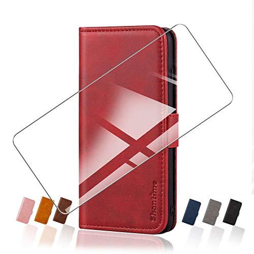HHUAN Funda para ZTE Blade 11 Prime (6.52') Flip Cover + Cristal Templado Protector de Pantalla, Flip PU Leather Carcasa Soporte Plegable Función de Cover Billetera Case Caso - White
