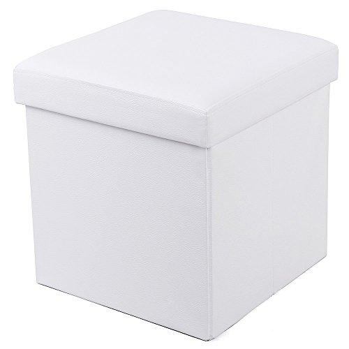 SONGMICS Banqueta Plegable con Compartimento para Almacenaje (Cuero de Imitación, 38 x 38 x 38 cm), color Blanco LSF103