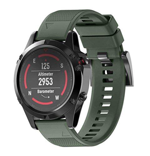 SHOBDW Garmin Fenix 5-22MM /Fenix 5X-26MM Armband, Wiedereinbau Silicagel weicher Band-Bügel für Garmin Fenix 5 /Fenix 5X GPS-Uhr (26MM, Armeegrün)