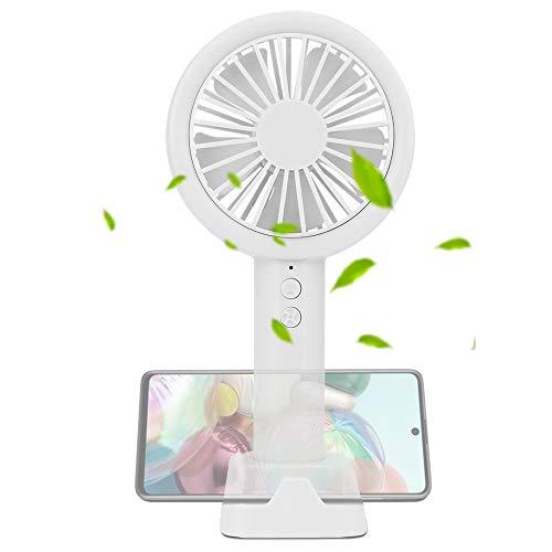 Ventilador de mano USB, mini ventilador con batería recargable, ventilador de mesa con 3 velocidades y base de escritorio para oficina, casa, viaje, camping (blanco)
