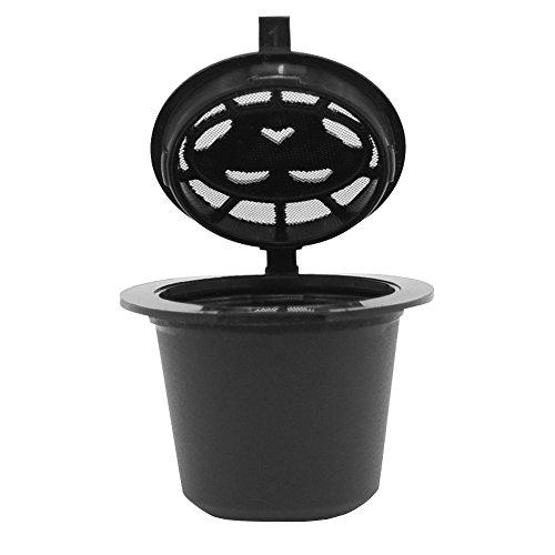 Wiederbefüllbare Kaffeekapsel kompatibel mit Nespresso Machines Filter zum Nachfüllen Refill-Kapsel für umweltbewusste Kaffee-Liebhaber Maschinen Kapsel Kaffeeduck Kaffeekapselfüllung (Schwarz)
