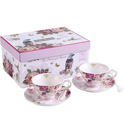 London Boutique Coffee Tea Cup and Saucer Set 2 Shabby Chic Vintage Flora Porcelain Set Gift Box (Pink Bird Rose)