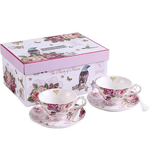 London Boutique Juego de 2 Tazas de té y platillo de Porcelana...