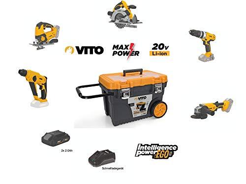 VITO Professional 20V 2x 2.0Ah Akku Werkzeug Set (PowerPack4) Akku Combo Kit Werkzeugset Akku Stichsäge, Schrauber, Kreissäge, Bohrhammer, Winkelschleifer SET