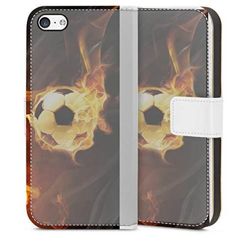 DeinDesign Klapphülle kompatibel mit Apple iPhone 5c Handyhülle aus Leder weiß Flip Case Fußball Feuer Ball