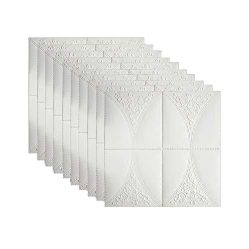 KUNYI 3D ladrillo Blanco, Papel Pintado de Pared 3D Paneles de Papel Pintado la Pared de ladrillo Pegatinas de Auto-Adhesivo de la Pared del Panel a Prueba de Agua (Color : White, Size : 20 Piece)