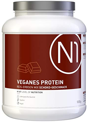 N1 VEGANES PROTEIN Schoko 1Kg - Kraftvoll und rein pflanzlich - Mix aus Reisprotein und Erbsenprotein, kalorienreduziert - lecker, leicht löslich - Apothekenprodukt ohne unnötige Zusätze