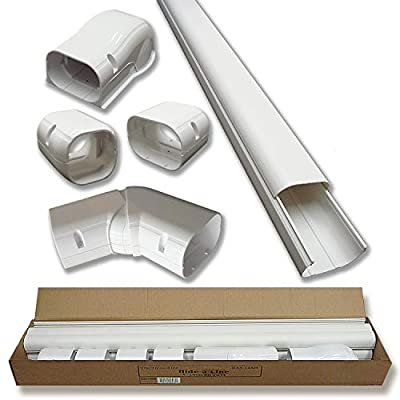 """4"""" 14 Ft Line Set Cover Kit for Mini Split Air Conditioners and Heat Pumps Decorative Tubing Cover"""