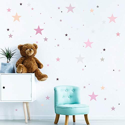 Wandtattoo 100 Sterne in zarten Pastellfarben Kinderzimmer Wandsticker Aufkleberset/Pastell-rosa