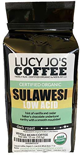 Lucy Jo's Coffee, Organic Sulawesi Low Acid, Whole Bean, 11 oz