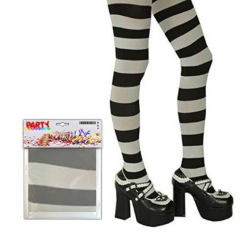 PARTY DISCOUNT ® Strumpfhose gestreift, schwarz/weiß, Einheitsgröße