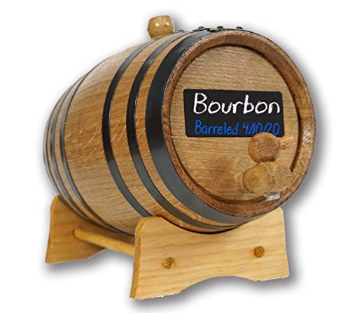 American Oak Barrel (1 liter) with Chalkboard Front - Mini Keg for Aging Bourbon  Scotch  Whiskey  Gin  Hot Sauce - Home Bar Decor by Thousand Oaks Barrel Co.