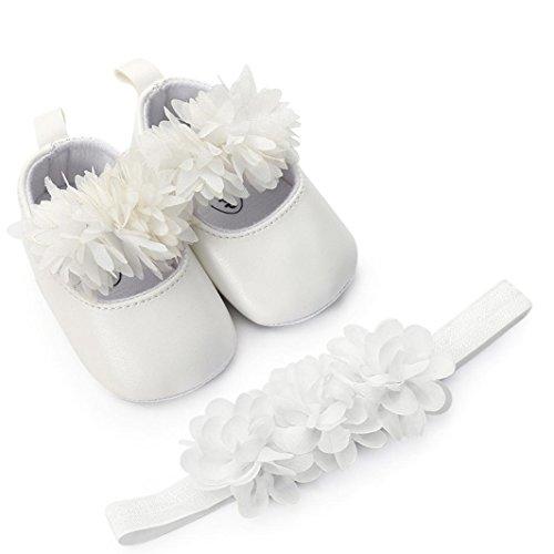 Zapatos de Bebe Niñas Fossen Recién Nacido Niñas Primeros Pasos Bordado Corazón Patrones Y Encaje Diadema de Flores (6-12 Meses, Blanco)