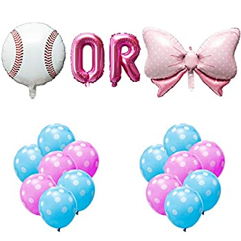 OSNIE Baseball or Bows Gender Reveal Balloons Party Decorations Supplies Baby Blue and Pink Foil Mylar Latex Balloons Kit for Boy or Girl He or She Baby Shower Pregnancy Announcement Decor Set of 24