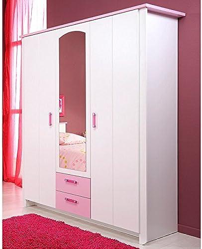 Kleiderschrank 3 Türen B 136cm WeißRosa Schrank Drehtürenschrank W heschrank Spiegelschrank Kinderzimmer Jugendzimmer mädchenschrank