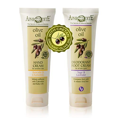 Crema de Manos APHRODITE -100% natural-2 piezas. Set 2 elaborado con el aceite de oliva orgánico más puro de Grecia (Aguacate y Manzanilla / Salvia y Lavanda)