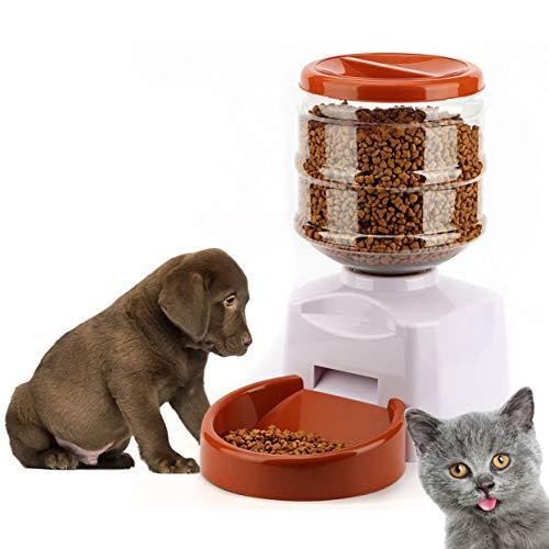 LoveOlvidoD 5.5L Automatische Futterautomat mit Sprachnachrichten-Aufnahme und LCD-Bildschirm Große Smart Dogs Cats Food Bowl Dispenser Schwarz