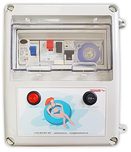Swimhome Cuadro eléctrico para Piscina con Guardamotor y Transformador 60W DC y Control Remoto RGB (0,5CV (2,5-4A))