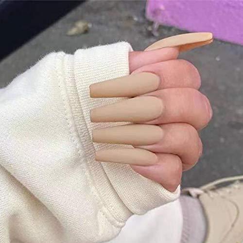 Harosy Extra Long Press on Nails Coffin Fake Nails Matte Ballerina Acrylic False Nail Tips for Women and Girls 24PCS (Brown)