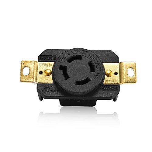 Aweking UL Listed NEMA L14-20R Receptacle Connector Socket,20A 20 Amp,AC 125V/250V 125 Volt/250 Volt,3 Pole-4 Wire,Grouding,Twist Locking,Black Gray