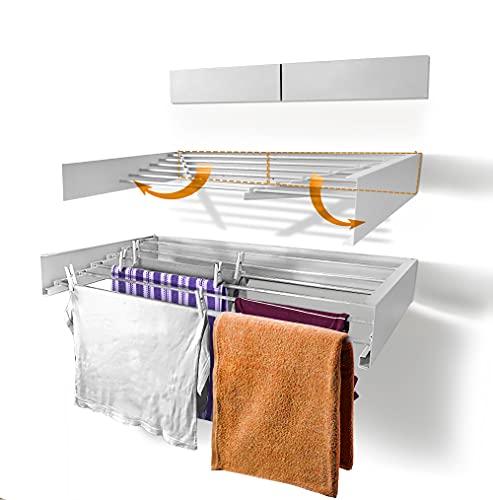 Urban Nouk Tendedero de ropa - Montaje en pared - Retráctil - Tendedero plegable para interior o exterior - Ahorra espacio - Diseño compacto y delgado (blanco, 100 cm)