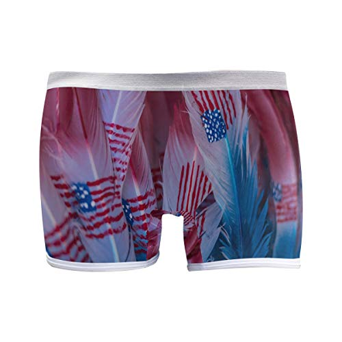 FANTAZIO American Flag Feathers Basics Damen-Boxershorts, modern, Jungen Gr. S, 1