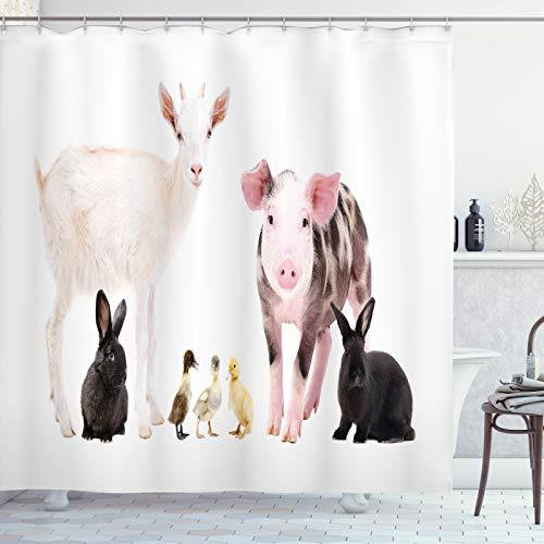 ABAKUHAUS Bauernhoftier Duschvorhang, Enten Schwein Ziege Hasen, Digital auf Stoff Bedruckt inkl.12 Haken Farbfest Wasser Bakterie Resistent, 175x200 cm, Mehrfarbig