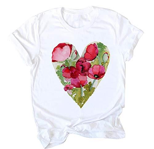 Blusa de manga corta para mujer con estampado de flores suaves en forma de corazón de San Valentín para San Patricio de Pascua (verde)